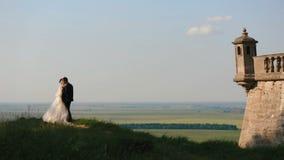 Hübscher Bräutigam kommt zu seiner reizend Braut und umarmt sie zurück am Hintergrund der schönen Art der Felder stock footage