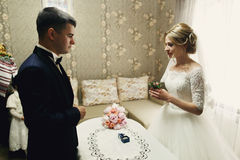 Hübscher Bräutigam und schöne blonde Braut, die Heiratsrin austauscht Lizenzfreie Stockfotografie