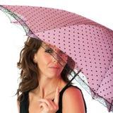 Hübscher Brunette mit Sonnenschirm Lizenzfreie Stockfotos