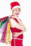 Hübscher Elf mit Geschenken auf Weiß Stockbilder