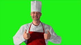 Hübscher erwachsener Chef gibt die Daumen-oben zur Kamera und Lächeln auf einem grünen Hintergrund stock footage