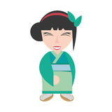 hübscher Geishagrünkimono Lizenzfreies Stockfoto