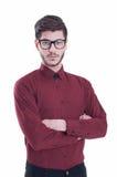Hübscher Geschäftsmann, der auf weißem Hintergrund steht Stockbilder