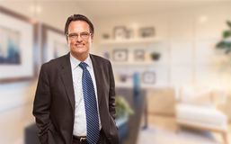 Hübscher Geschäftsmann In Suit und Bindung, die in seinem Büro steht Lizenzfreie Stockfotografie