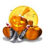 Hübscher Halloween-Kürbis auf einem Weiß Stockbilder