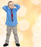 Hübscher Junge im Hemd und in der Bindung Lizenzfreies Stockfoto