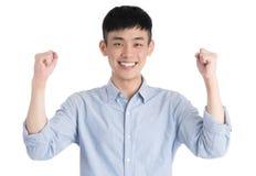 Hübscher junger Asien-Mann - lokalisiert über einem weißen Hintergrund Stockfotografie