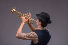 Hübscher junger Jazzmann Lizenzfreies Stockfoto