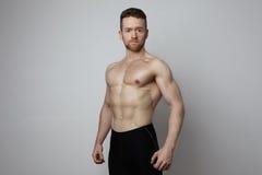 Hübscher junger Mann mit der perfekten muscule Körperaufstellung Stockfoto