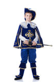 Hübscher junger Musketier, lokalisiert auf Weiß Lizenzfreie Stockfotos