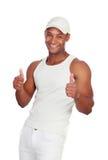 Hübscher Kerl gekleidet in weißem Sprechen O.K. Stockfoto