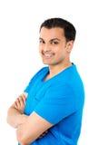 Hübscher Kerl im blauen Hemd lizenzfreie stockfotos