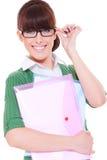 Hübscher Kursteilnehmer mit Papieren Stockfoto