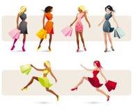 Hübscher Mädcheneinkauf Lizenzfreie Stockfotos
