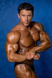 Hübscher muskulöser Bodybuilder demonstriert seine Muskeln Stockfotografie