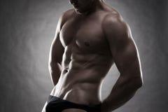 Hübscher muskulöser Bodybuilder, der auf grauem Hintergrund aufwirft Zurückhaltender Abschluss herauf Atelieraufnahme stockbilder