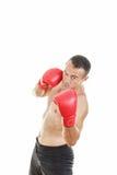 Hübscher muskulöser männlicher Boxer bereit, mit Boxhandschuhen zu kämpfen Lizenzfreie Stockfotografie