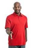 Hübscher schwarzer Mann, der Hände rüttelt stockfotos