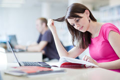 Hübscher weiblicher Kursteilnehmer mit Laptop und Büchern Stockfotos