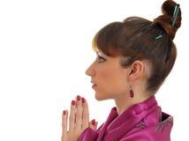 Hübsches Asiatischart Mädchen im Kimono Lizenzfreies Stockfoto