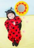 Hübsches Baby, gekleidet im Marienkäferkostüm Stockfotos