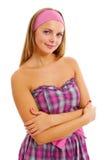 Hübsches barbie Mädchen im rosafarbenen Kleid lizenzfreies stockfoto