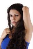 Hübsches Frauenblickschauen Stockfoto