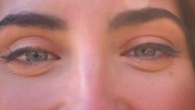 Hübsches Gesicht der Nahaufnahme und blaue Augen der kaukasischen Frau gerade betrachtend Kamera, offen und natürlich stock footage