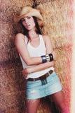 Hübsches Land-Mädchen stockfoto