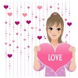 Hübsches Mädchen, das liebevolles Inneres auf wulstigem Trennvorhanghintergrund zeigt Stockbild