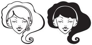 Hübsches Mädchen in den Kopfhörern Stockfotografie
