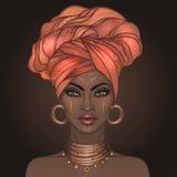 Hübsches Mädchen des Afroamerikaners Vektor-Illustration der schwarzen Frau Stockfotos