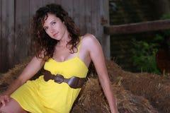 Hübsches Mädchen in einer Scheune Stockfotografie