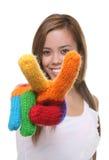 Hübsches Mädchen-Friedenszeichen Lizenzfreie Stockfotos