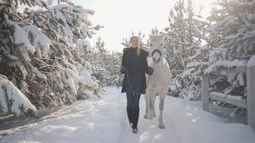 Hübsches Mädchen geht mit Pferd in der Schneewinterranch Junge Frau, die ihr Pferd mit seinem Hauptkragen sprechend mit führt stock video