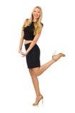 Hübsches Mädchen im schwarzen Minikleid auf Weiß Lizenzfreies Stockfoto