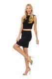 Hübsches Mädchen im schwarzen Minikleid lokalisiert auf Weiß Stockfoto