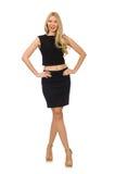 Hübsches Mädchen im schwarzen Minikleid lokalisiert auf Weiß Lizenzfreie Stockfotografie