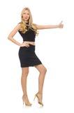 Hübsches Mädchen im schwarzen Minikleid lokalisiert auf Weiß Lizenzfreies Stockbild