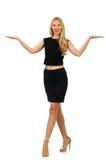 Hübsches Mädchen im schwarzen Minikleid lokalisiert auf Weiß Stockbild