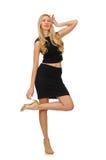 Hübsches Mädchen im schwarzen Minikleid lokalisiert auf Weiß Lizenzfreies Stockfoto