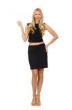 Hübsches Mädchen im schwarzen Minikleid lokalisiert auf Weiß Stockfotografie