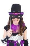 Hübsches Mädchen im Spaßvogelkostüm mit der Maske lokalisiert Lizenzfreies Stockfoto