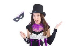 Hübsches Mädchen im Spaßvogelkostüm mit der Maske lokalisiert Stockfoto
