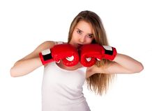 Hübsches Mädchen mit Boxhandschuhen Lizenzfreie Stockbilder