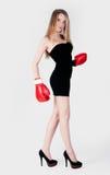 Hübsches Mädchen mit Boxhandschuhen Stockfotos