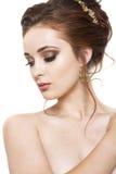 Hübsches Mädchen mit Frisur und Make-up Stockfoto
