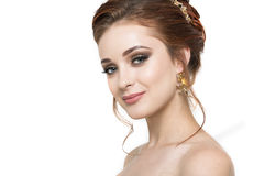 Hübsches Mädchen mit Frisur und Make-up Lizenzfreie Stockbilder
