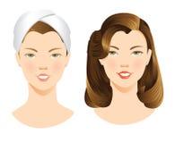 Hübsches Mädchen mit Make-up und ohne Make-up Lizenzfreies Stockbild