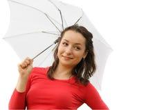 Hübsches Mädchen mit Regenschirm lizenzfreies stockbild